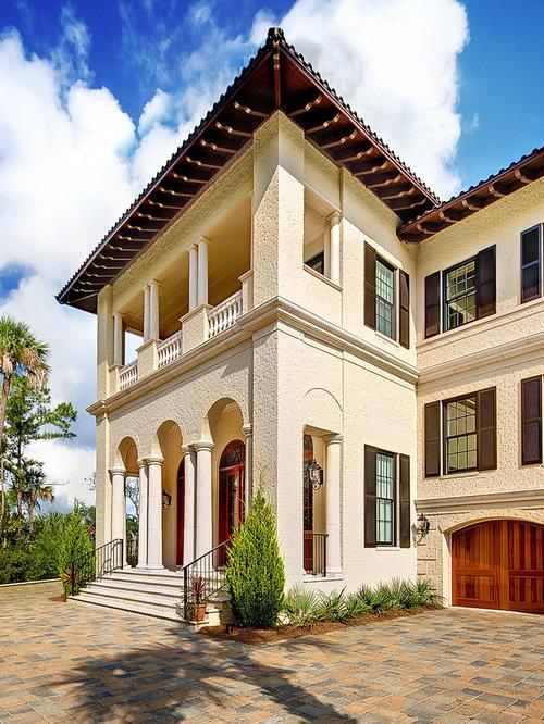 Mediterranean Three Story Exterior Home Idea In Charleston