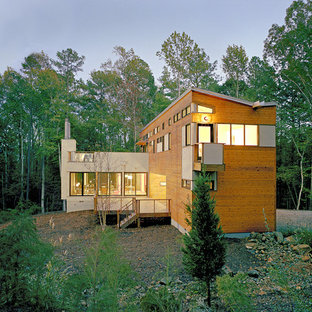 Modern wood exterior home idea in Raleigh