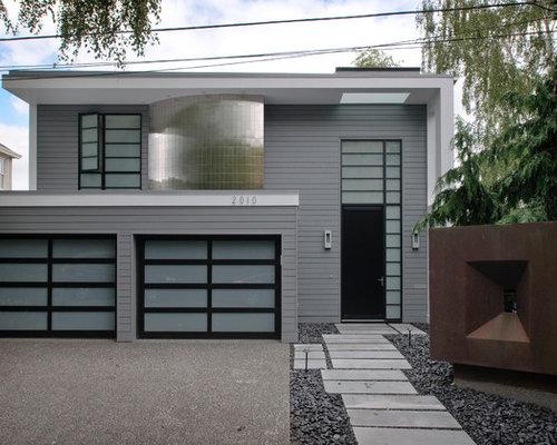 Gray exterior white trim black shutters home design ideas for Modern grey exterior house