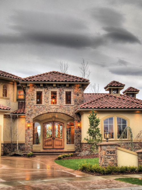 Mediterranean boise exterior design ideas remodels photos for Mediterranean stone houses