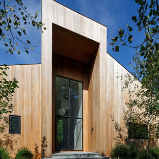 Inspiration for a scandinavian brown one-story wood exterior home remodel in New York with a shed roof