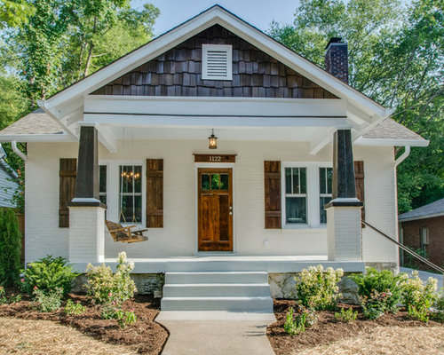 small craftsman white one story brick exterior home idea in nashville