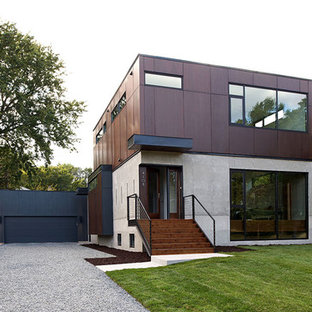 Mid-sized modern two-story concrete flat roof idea in Minneapolis