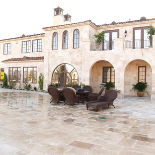Inspiration for a mediterranean exterior home remodel in New York