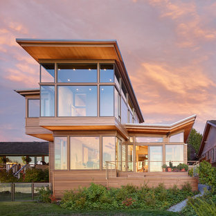 Example of a mid-sized minimalist exterior home design in Seattle