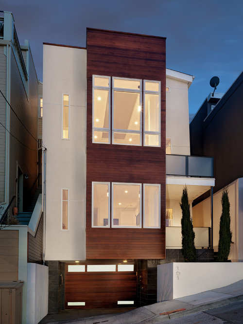 Narrow House Facade Design Ideas For A Contemporary Exterior In San Francisco With Wood