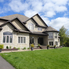Transitional Exterior by Sanchez Homes