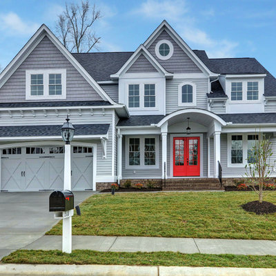 Transitional gray two-story wood exterior home idea in Richmond with a shingle roof