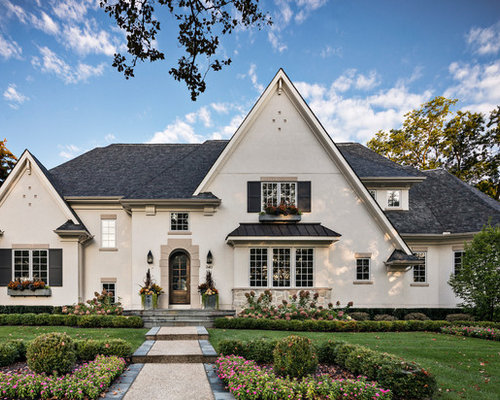 outside home designs. Example of a large transitional beige split level stucco exterior home  design in Detroit Exterior Home Ideas Design Photos Houzz