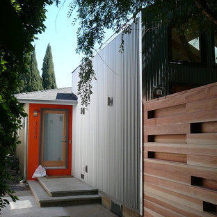 Entryway to Remodeled Unit - Corrugated Siding on New Addition