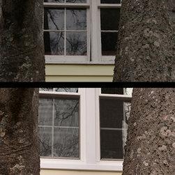 Essentials Windows - Warped, cracked, rotten wooden windows were replaced with vinyl Essentials windows from Sunrise Windows.