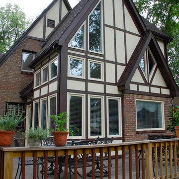 Evanston, IL Marvin Window & Hardie Stucco Siding Remodel Tudor Style