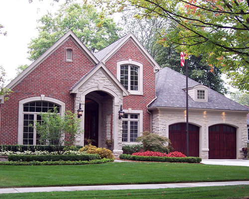 Red brick and stone houzz for Stone and brick home designs