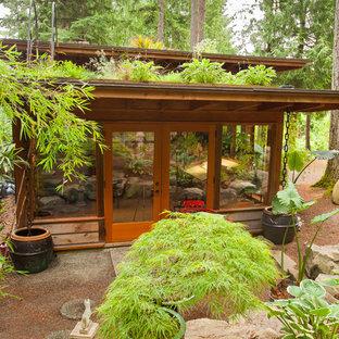 Foto della facciata di una casa contemporanea con rivestimento in legno e copertura verde