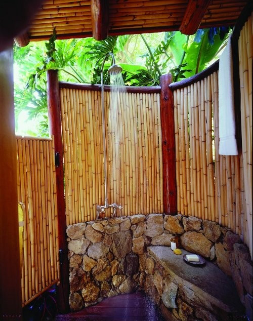 Bamboo shower home design ideas pictures remodel and decor - Outdoor shower enclosure ideas ...