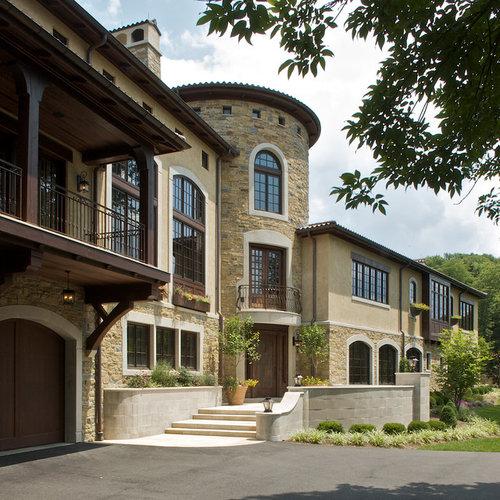 Stone and stucco facade houzz for Tuscan home exterior colors