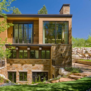 Transitional stone exterior home photo in Denver
