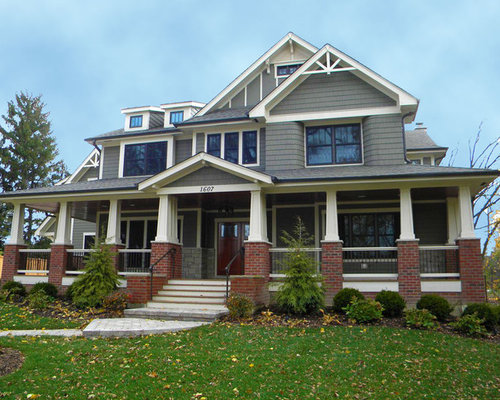 Red Brick And Grey Siding Home Design Ideas Pictures