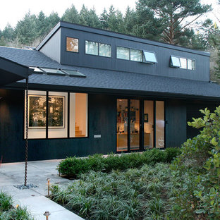 Inspiration for a contemporary two-story exterior home remodel in Portland