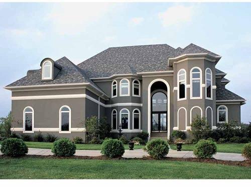 Gray Stucco White Trim Home Design Ideas Pictures