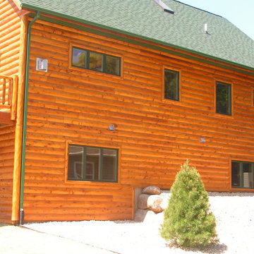 Exterior Log Siding with Stain colors