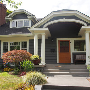 Mid-sized craftsman gray one-story wood exterior home idea in Portland with a gambrel roof