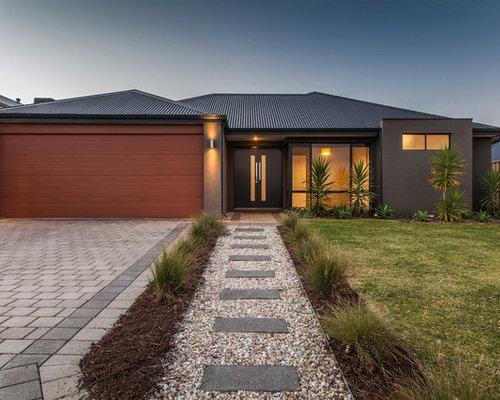Casa rettangolare foto e idee houzz for Moderni piani di case ranch sollevate