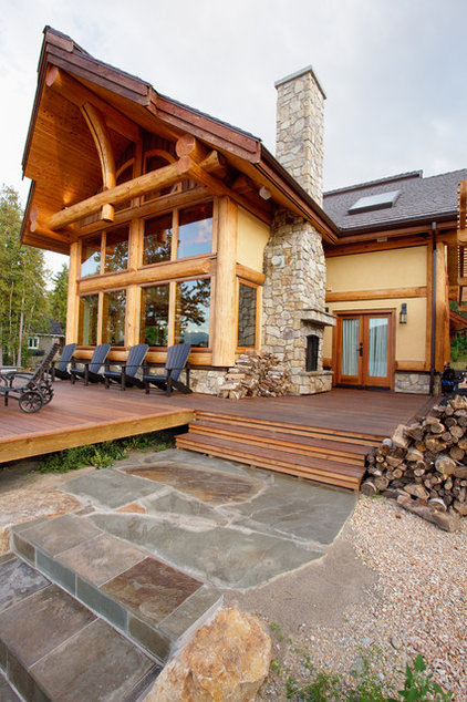 Contemporary Exterior by Traditional Log Homes Ltd