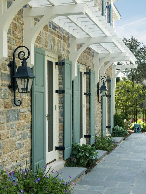 Exterior cottage shutters home design ideas pictures for Cottage style exterior shutters