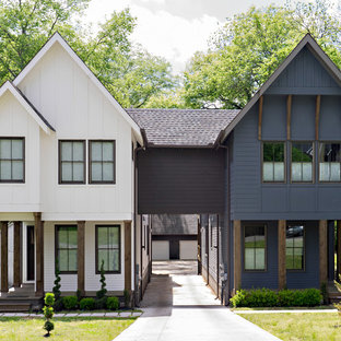 Inspiration for a transitional white two-story gable roof remodel in Nashville
