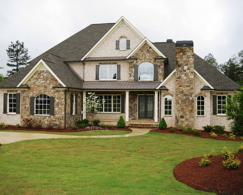 Brick stone combination houzz for Exterior stone design houses