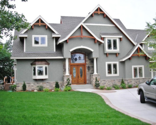 Grey stucco house home design ideas pictures remodel and decor for Exterior decorative trim for homes
