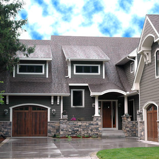 Traditional wood exterior home idea in Minneapolis