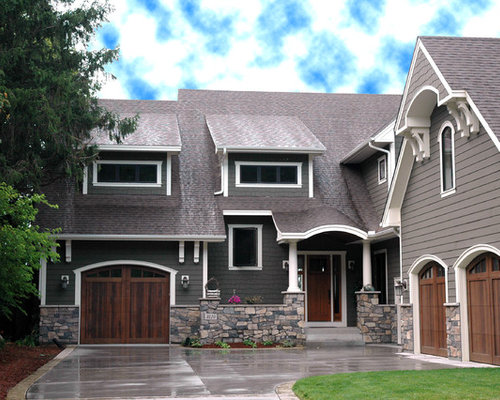 Gray house white trim home design ideas pictures remodel - Grey and white house ...