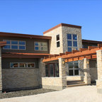 Modern Natural Wood And Stone Pergola Front Entryway Contemporary Exterior Phoenix By