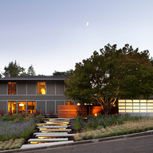 Example of a trendy gray two-story exterior home design in San Francisco