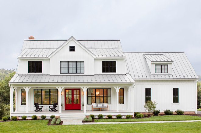 Farmhouse Exterior by Stephanie Gamble Interiors