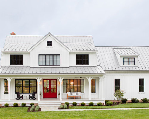 Metal roof design ideas houzz for 2 story farmhouse