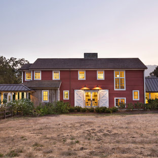 Design ideas for a country two-storey red exterior in San Francisco.