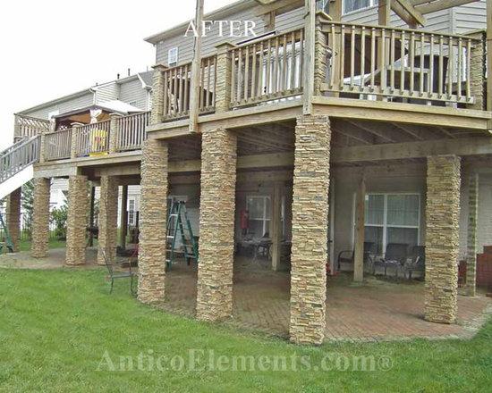 Cultured Stone Columns : Faux stone columns post wraps column