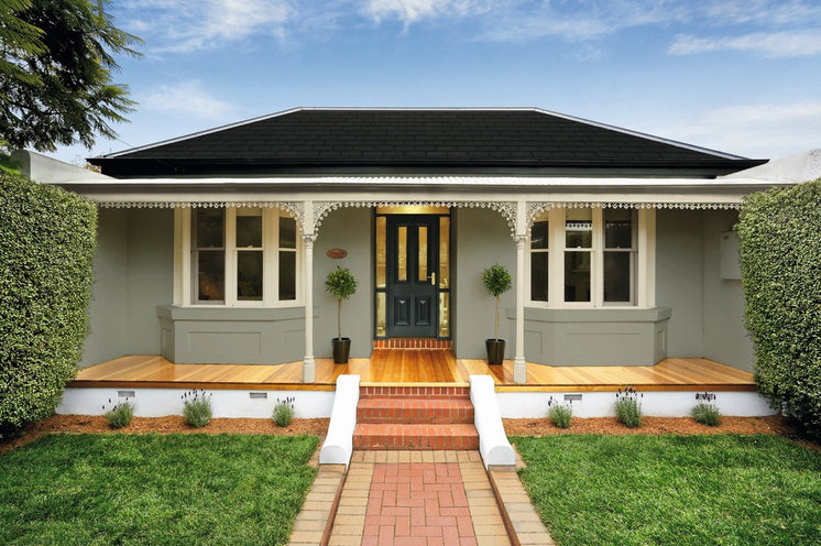 Exterior House Paint With China Doll And Portobello Trim