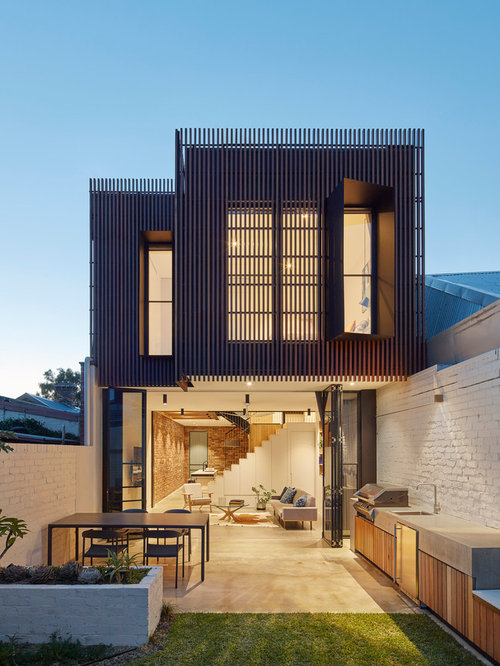 Design Ideas For A Small Contemporary Two Storey Exterior In Melbourne With  Mixed Siding And