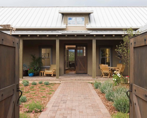 Farmhouse Adobe Gable Roof Home Design Ideas Remodels