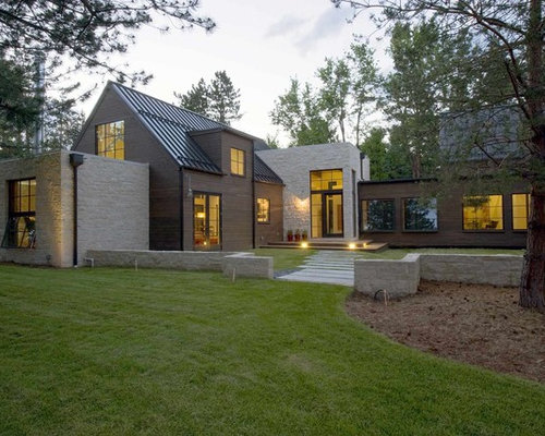 Houzz Farmhouse Mixed Siding Exterior Home Design Ideas Remodel Pictures