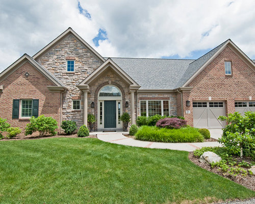 Brick and stone exterior houzz for Mixing brick and stone