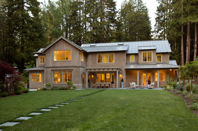 Transitional Exterior by Simpson Design Group Architects