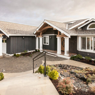 Mid-sized transitional multicolored two-story metal gable roof idea in Seattle