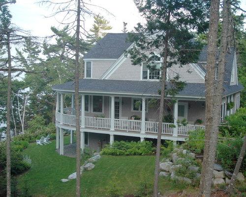 Wrap around deck houzz for Beach house designs with wrap around porch