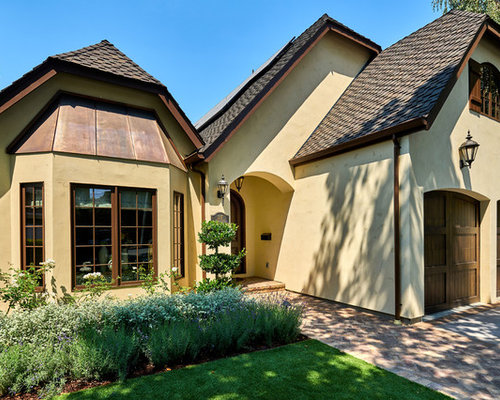 French Country Stucco Clipped Gable Roof Home Design Ideas