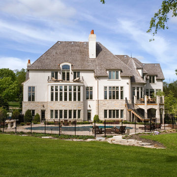 French Country Stone and Stucco Estate Features In Ground Pool and Stone Gazebo